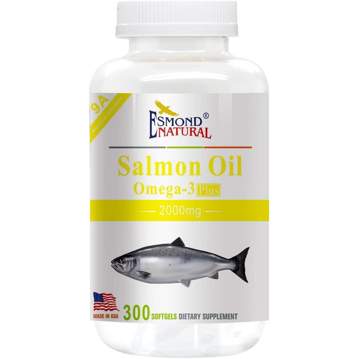 Esmond Natural: Salmon Oil (Omega-3 Plus), GMP, Natural Product Assn Certified, Made in USA-2000mg, 300 Softgels