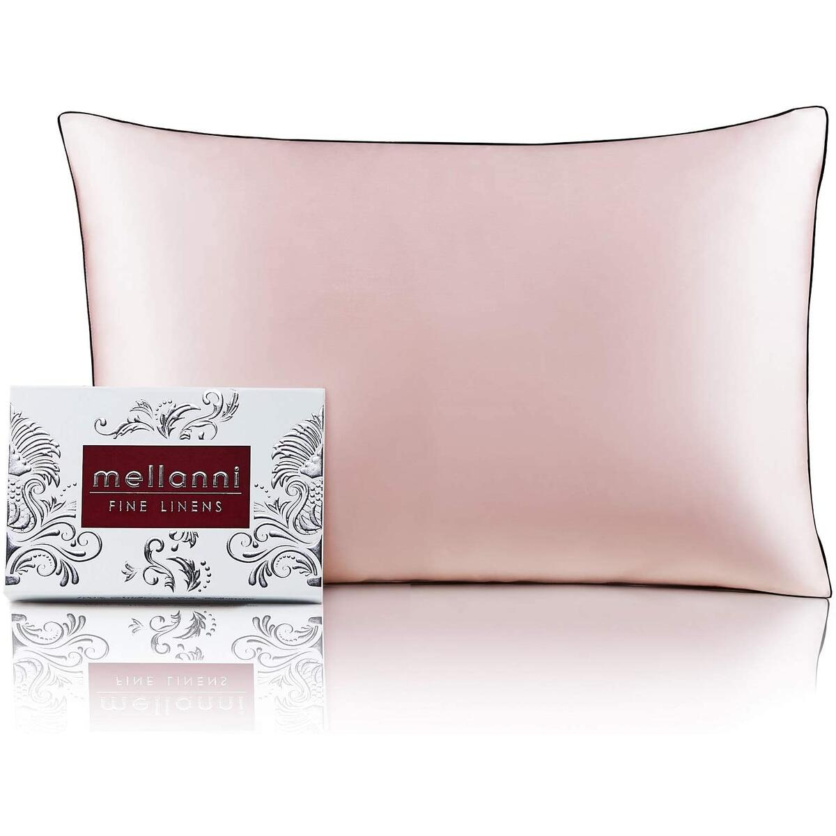Mellanni Silk Pillowcase for Hair and Skin - Both Sides 100% Pure Natural Mulberry Silk - 19 Momme - Hidden Zipper Closure Pillow Case - (Standard 20