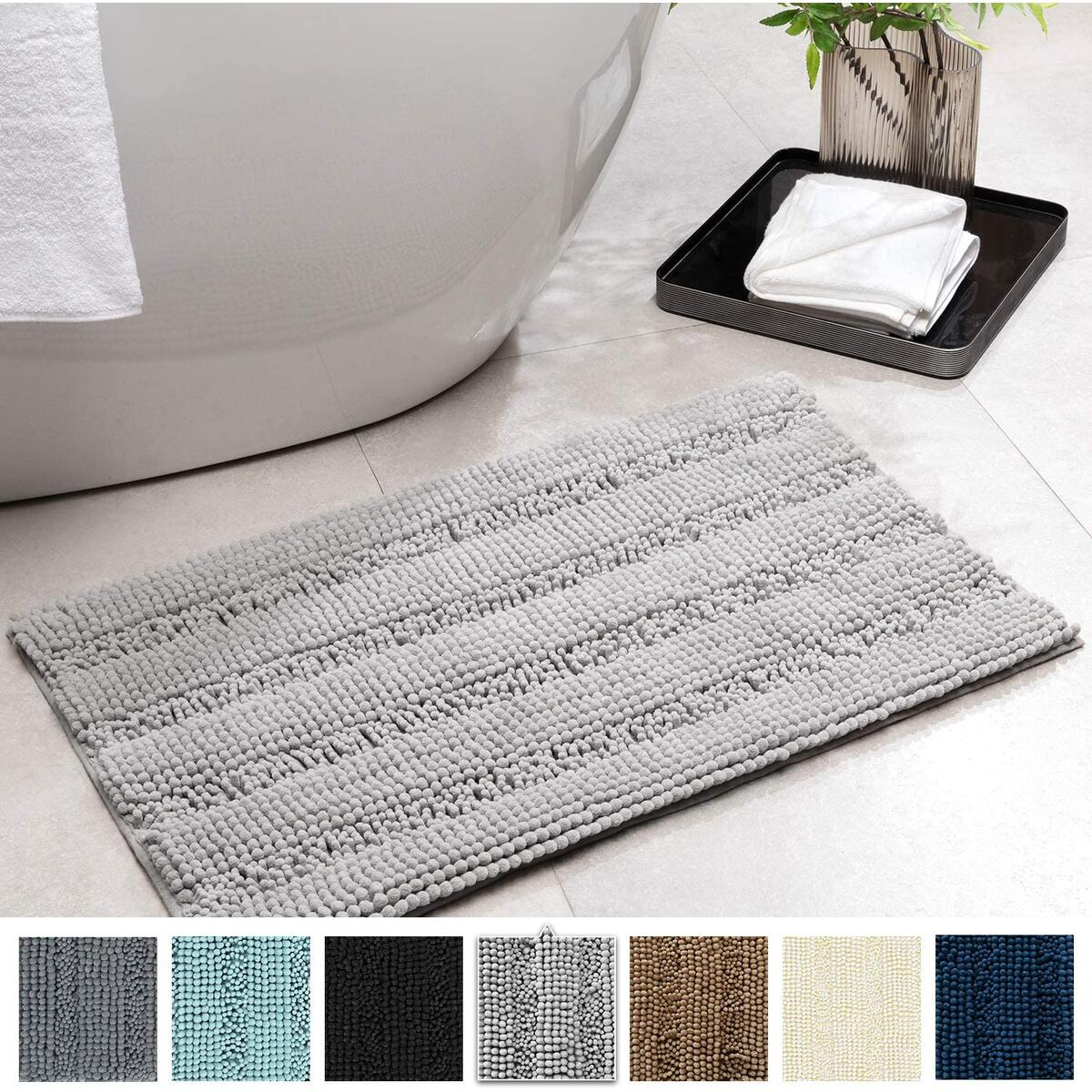 Soft Bathroom Rugs Light Grey Striped Chenille Bath Rug Ultra Absorbent Chenille Bath Mat Non-Slip Bathroom Rug for Bathroom Shower Rug Doormat Kitchen Floor Washable 32 x 20 Inches SERISSA