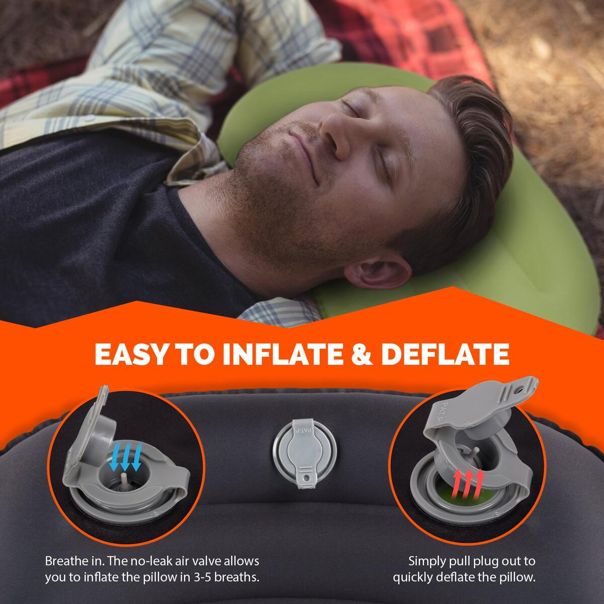 Camping Pillow - Ultralight Inflatable Travel Pillows, Green