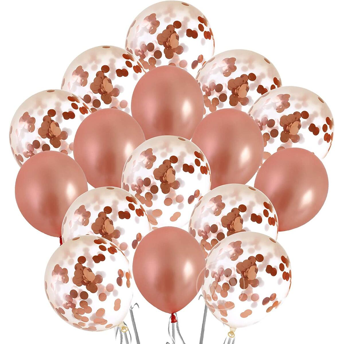 "18"" Rose Gold Confetti Balloon Pack for Bachelorette, Wedding, Engagement, Birthday Parties and Bridal Showers 