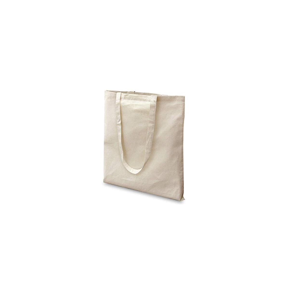 12 Pack Premium Natural Cotton Bags with Long Handle; Reusable Tote Bags; Ideal for Shopping; Can be Screen Printed, Designed and Customized; Machine Washable (Pack of 12- Size: 38 cm x 42 cm)