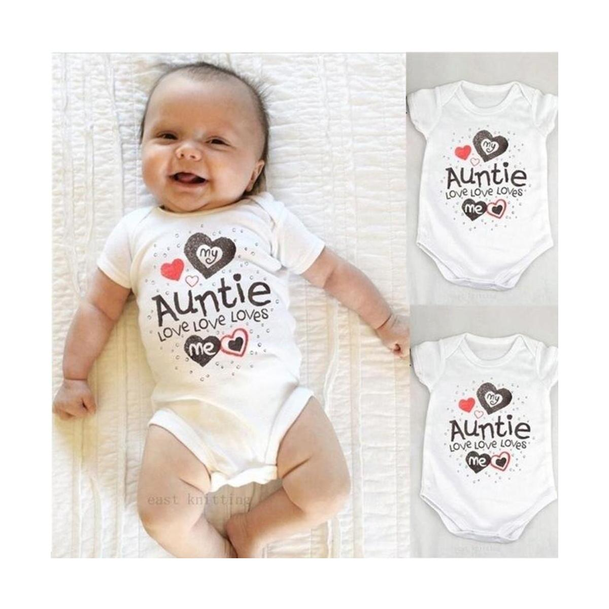 My Auntie Love Me Baby Boy Girls Romper Jumpsuit Bodysuit