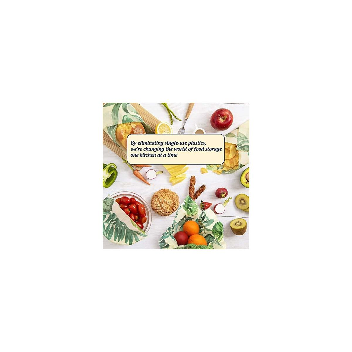Beeswax Wraps Assorted Set Of 4 | No Synthetic Wax or Chemicals – Holds for Up to a Year | Sustainable and Reusable Beeswax Food Wraps with Jojoba Oil | Includes Beeswax Bar & String Tie with Button