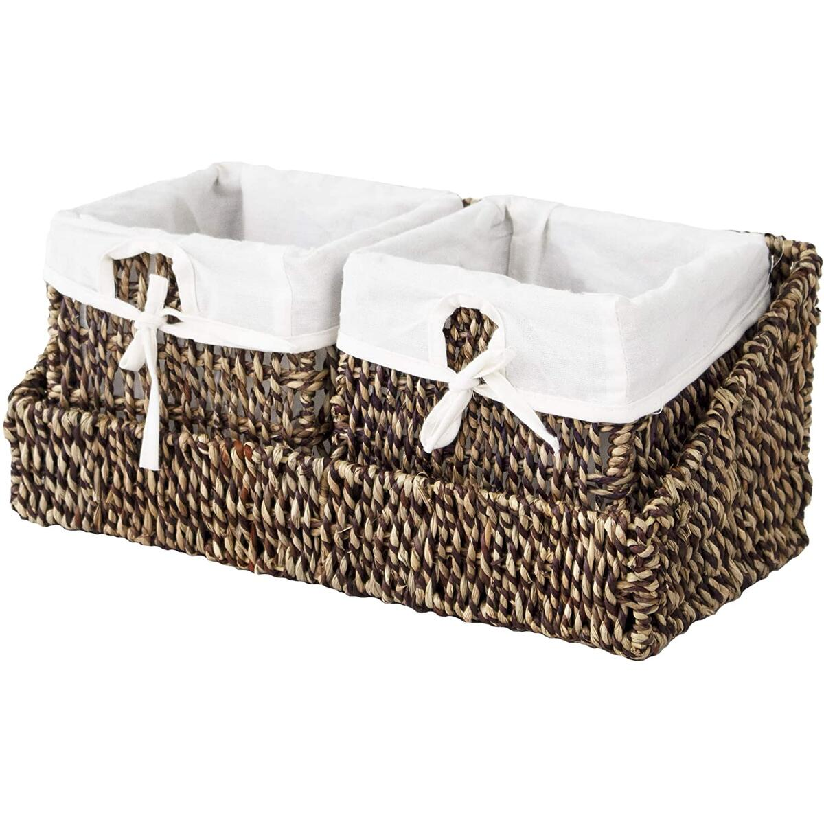 Seagrass Wall Hanging Wicker Shelf Storage Baskets with Wall Mount Tray and Removable Liners, Nesting Wall Organisation Container Bins (2 Baskets Brown Color with Tray)