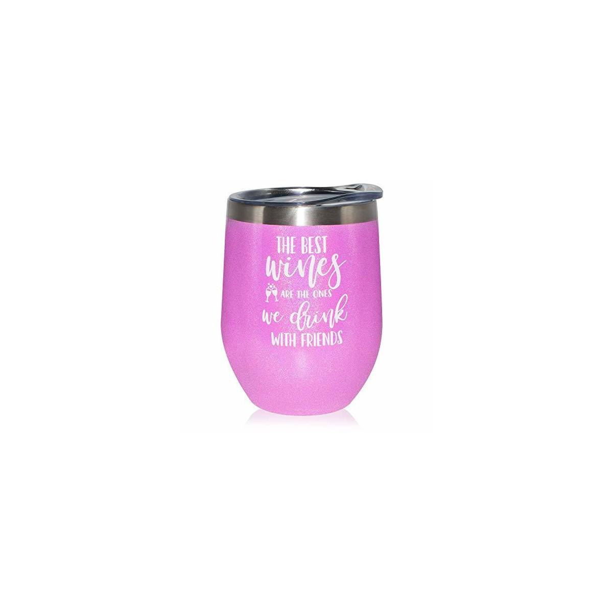 Best Friend Gifts for Women - Funny Wine Tumbler with Lid Stemless Stainless Steel Wine Cup - Valentines Day Birthday Gifts for BFF, Bestie, Soul Sister, Good Friends, Girlfriends