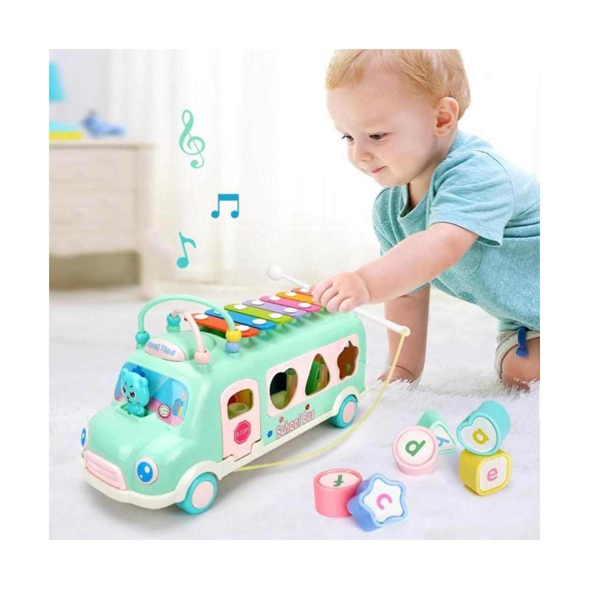 Baby Toys Music Bus Musical Drum Piano Knocking Instruments Baby Early Educational Toys