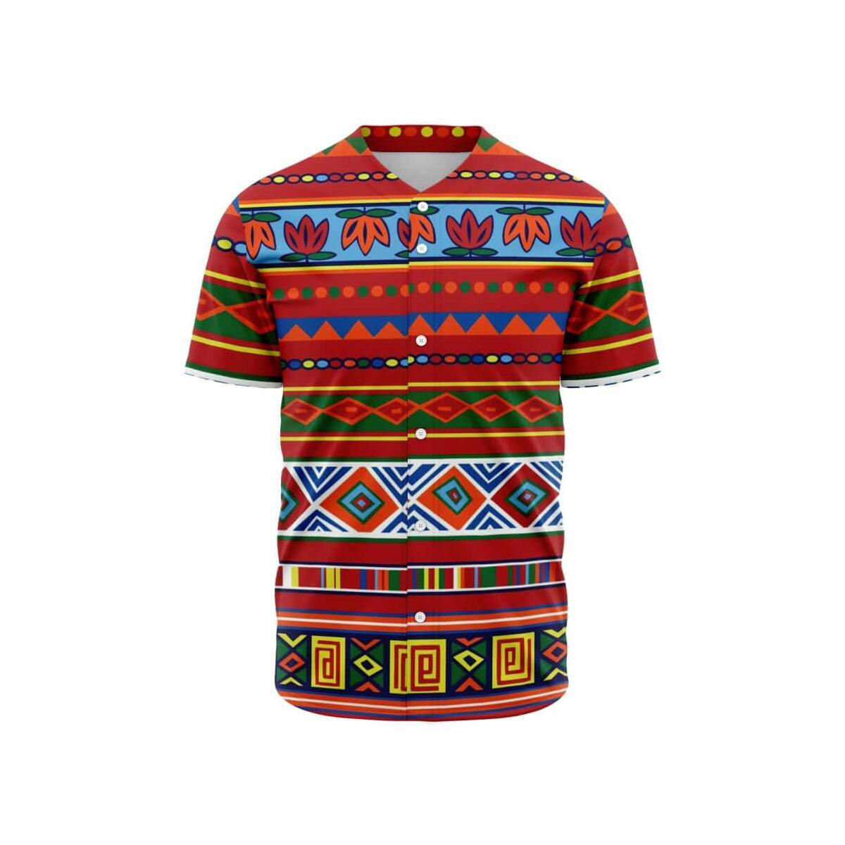 African Lotus Baseball Jersey, S