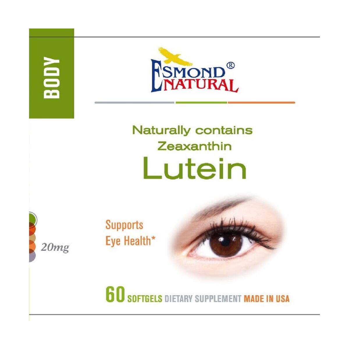 Esmond Natural: Lutein (Naturally Contains Zeaznthin, Supports Eye Health), GMP, Natural Product Assn Certified, Made in USA-20mg, 60 Softgels