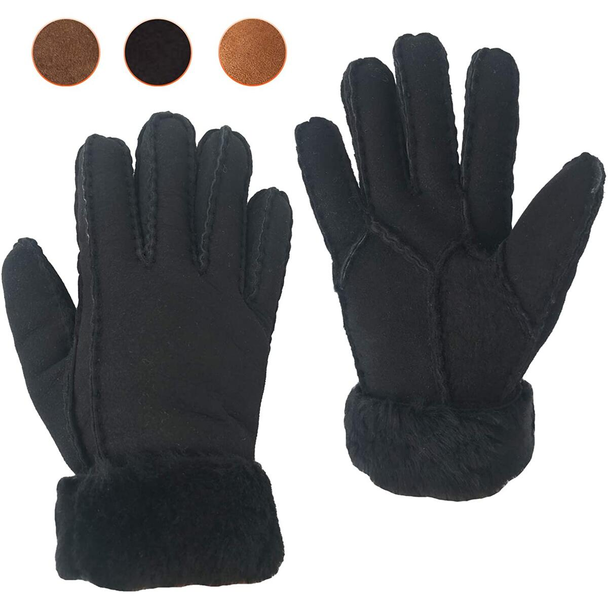 Genuine Shearling Sheepskin Fur Lined Leather Gloves | Winter Gloves for Men &Driving & Work Glove