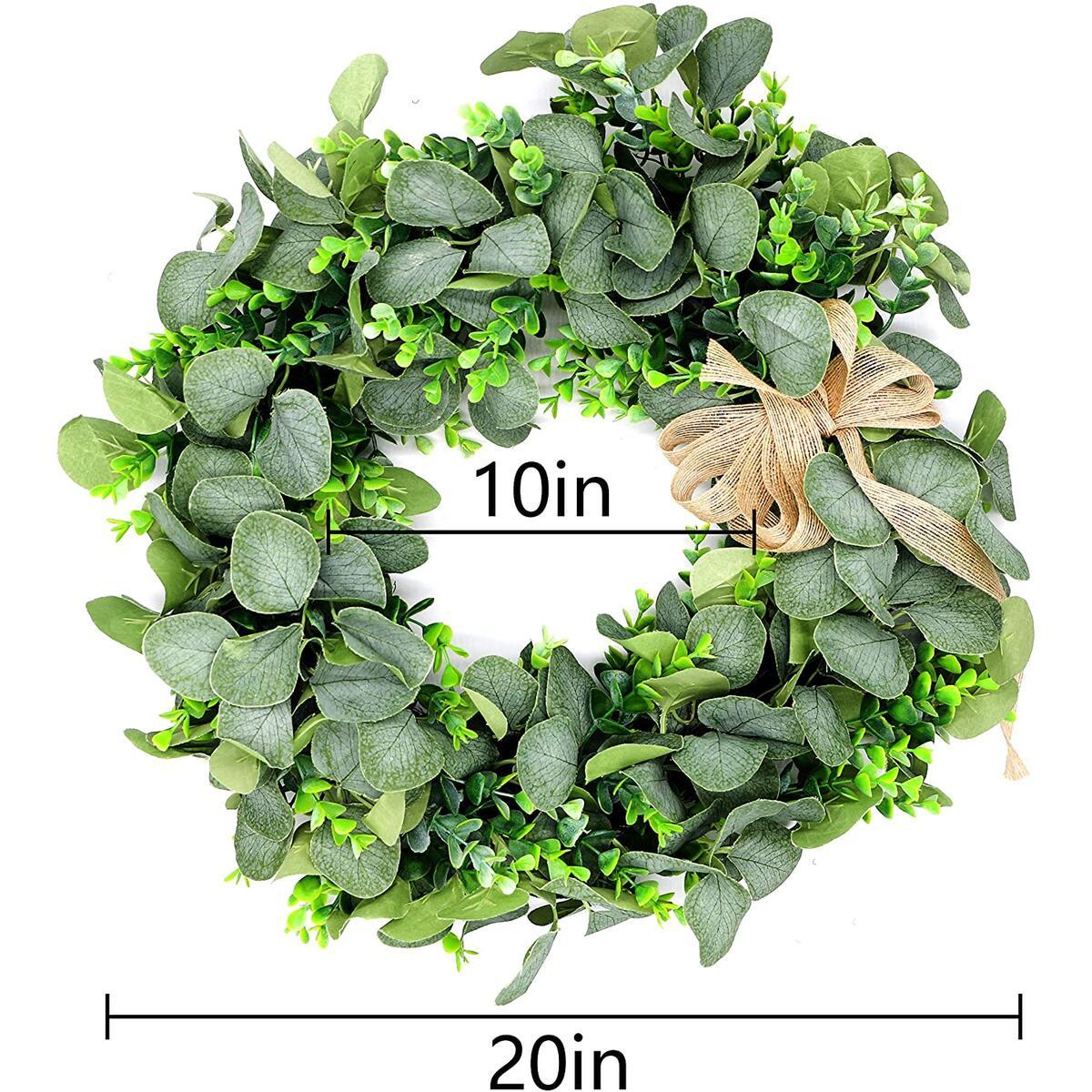 Eucalyptus Wreath, 20Inch Summer Wreaths for Front Door Farmhouse, Greenery Wreath