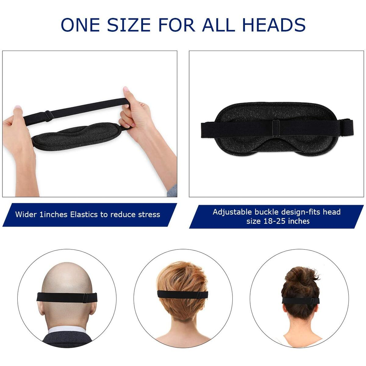 Eye Mask for Sleeping, Soft Comfortable Cotton Weighted Sleep Mask with Earplugs for Air Travel (Black)