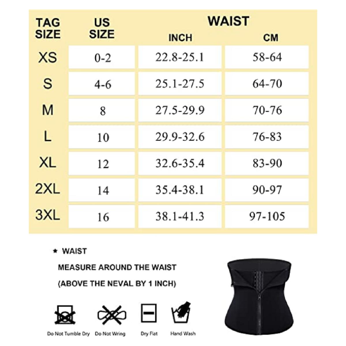 Waist Trainer Corset Zipper Shaper XSmall to 3XL