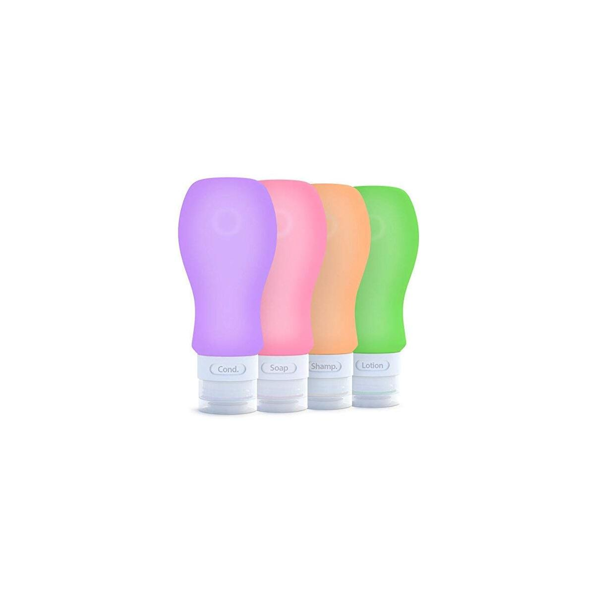 Travel Bottles Silicone Containers Set, Purple/Pink/Green/Orange, 3 oz , Set of 4