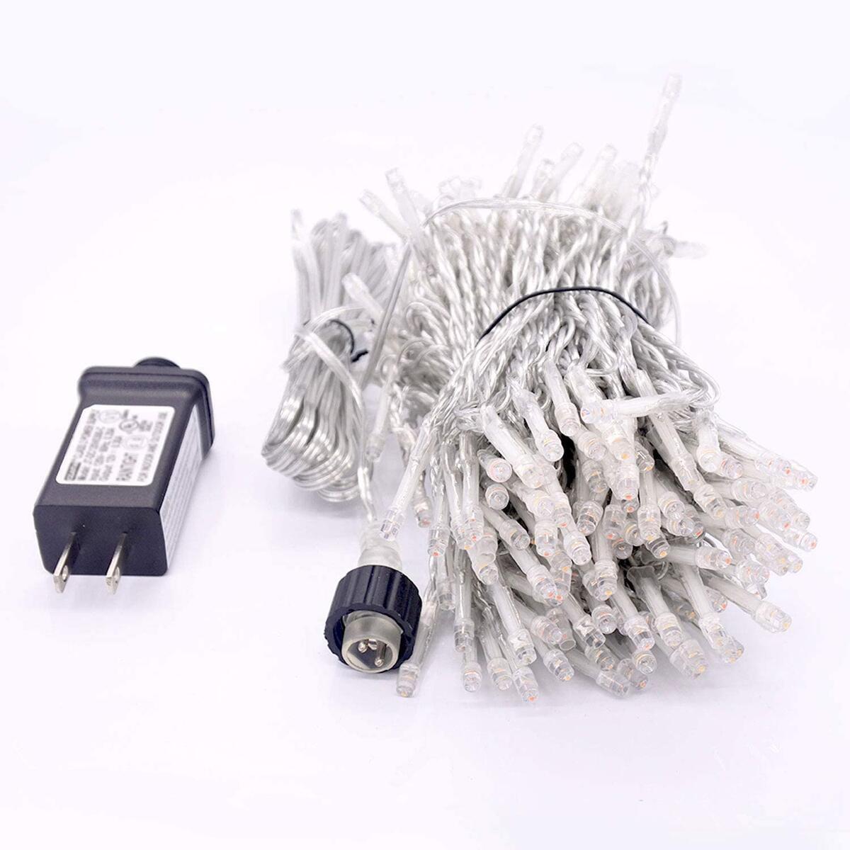 RULER Extendable String Lights, Waterproof Fairy Light 8 Modes 100 LED 49.2 Feet String Lights Plug in 24V Super Safe Voltage for Indoor/Outdoor, Bedroom, Patio, Wedding, Party (Warm White)