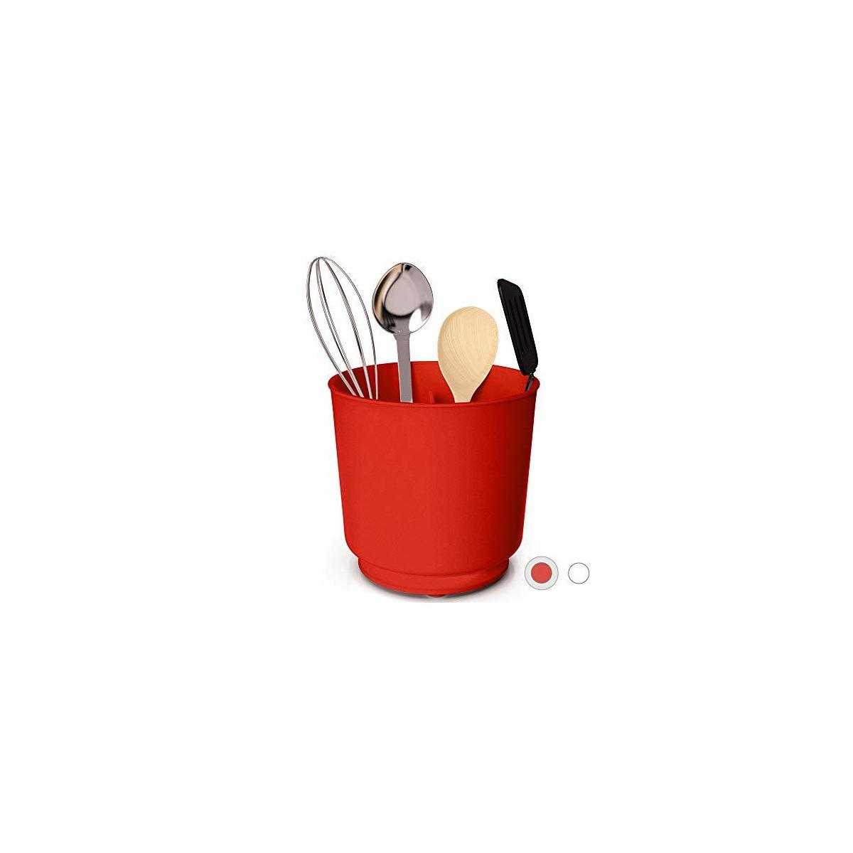 Extra Large Rotating Utensil Holder with Sturdy No-Tip Weighted Base, Removable Divider, And Gripped Insert | Rust Proof and Dishwasher Safe: Red by Cooler Kitchen