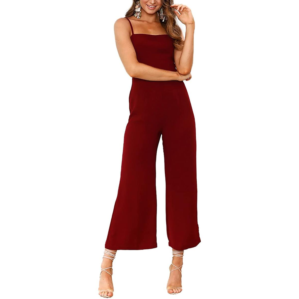 Minipeach Women's Solid Color Backless Sleeveless Wide Long Pants Jumpsuit Rompers