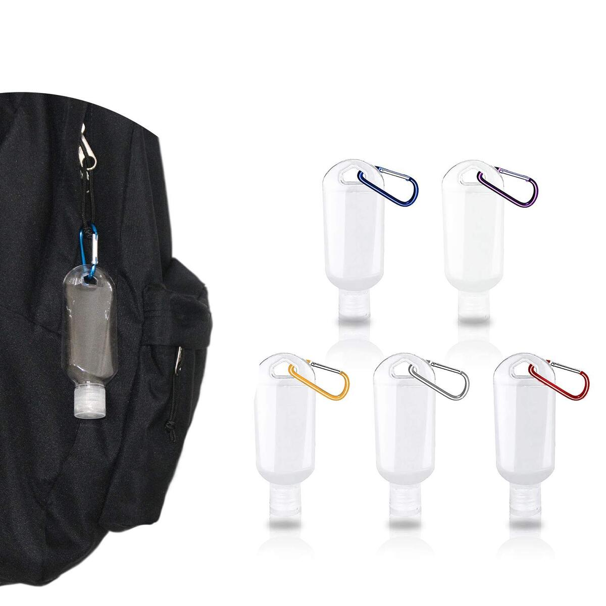 Travel Bottles with Keychain(5 Pack)-1.7OZ/50ML Leak Proof Empty Plastic Squeeze Hand Sanitizer Holder for Backpack