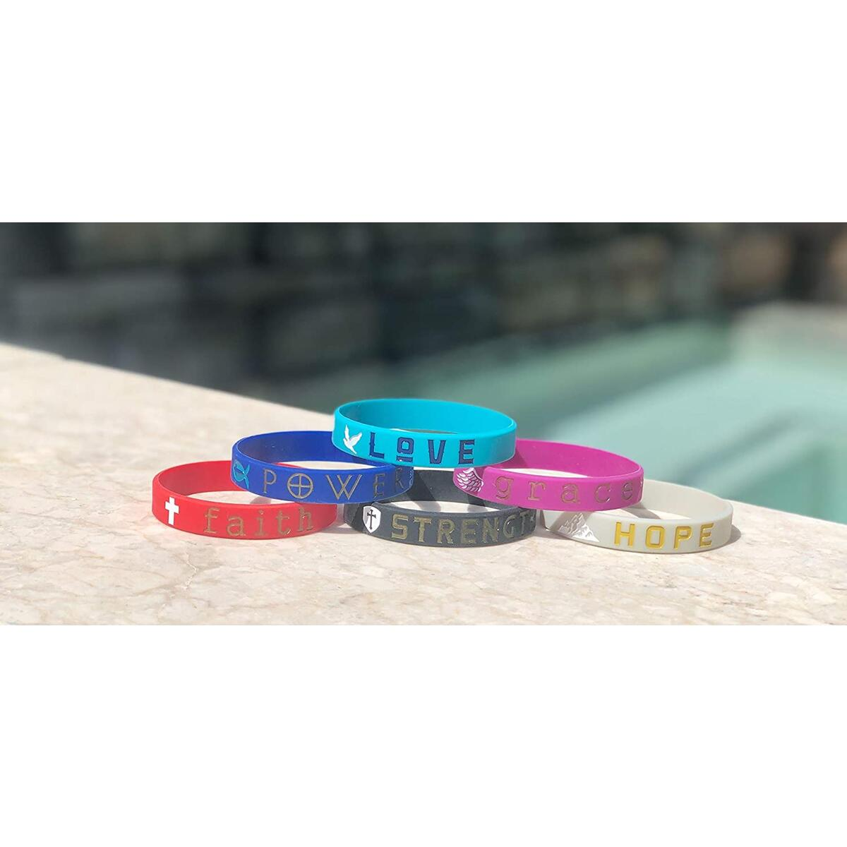 (12-Pack) Religious Bible Bracelets, Inspirational Christian Gifts Multi-Pack - Faith Hope Love Power Grace Strength - Wholesale Bulk Pack Silicone Rubber Wristbands for Religious Party Favors