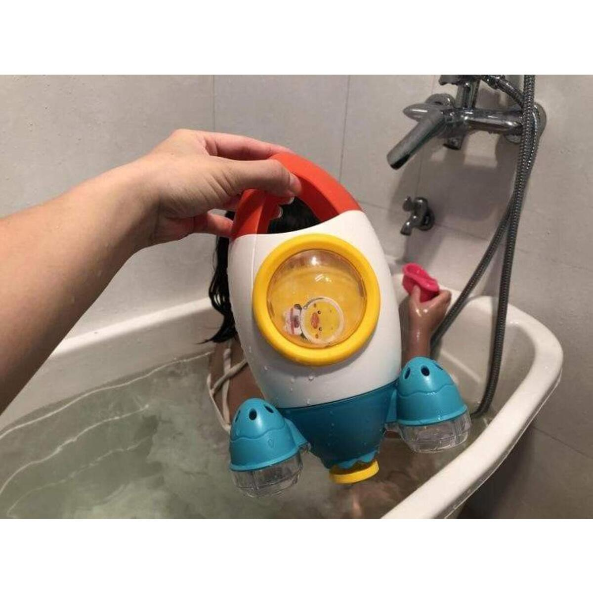Baby Kids Rotating  Rocket Shape Bath Toy Water Spray Bathtub Shower Water Interactive Toys