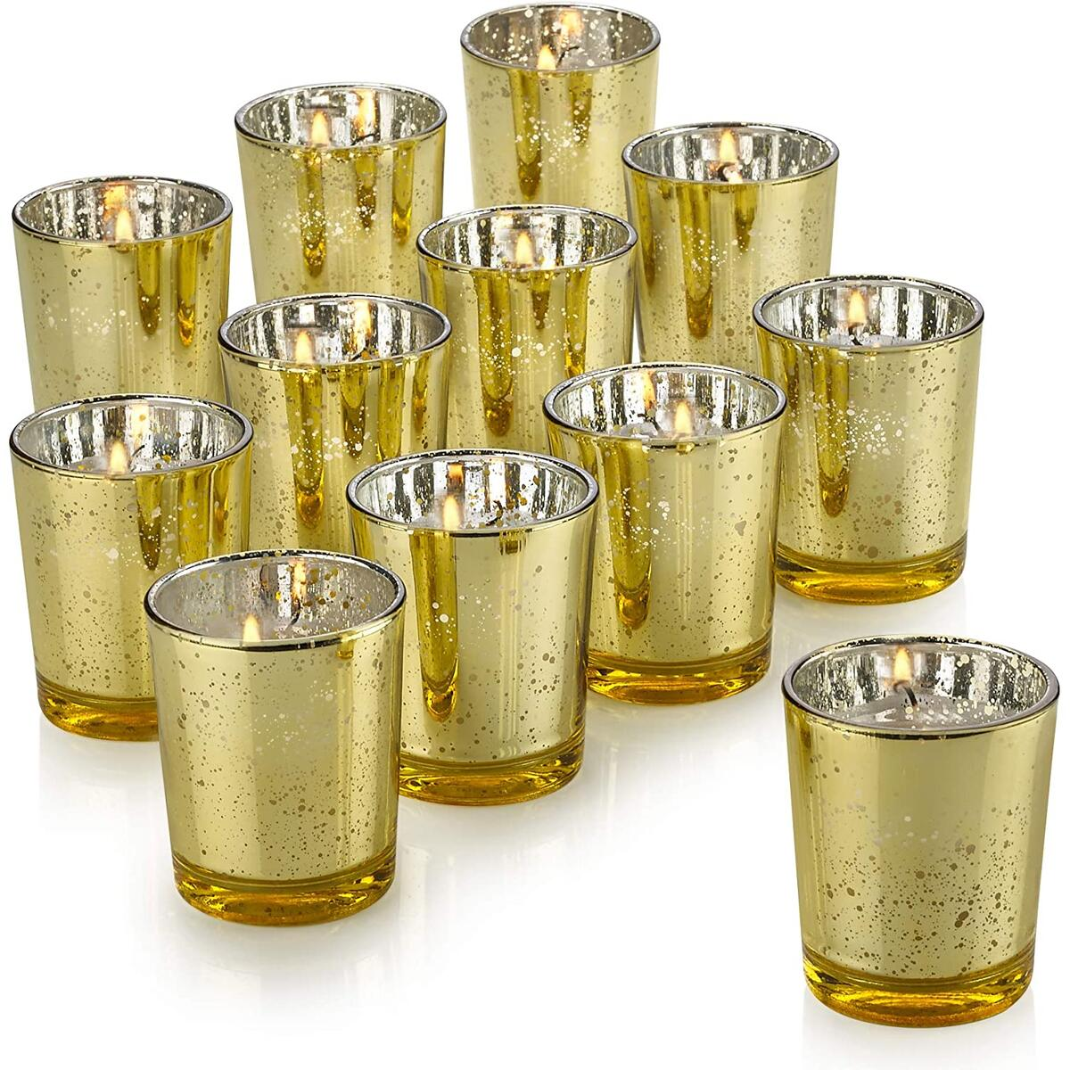 PARNOO Mercury Glass Candle Holders for Votive Candles and Tealights Set of 12 – Sparkled Gold Finish Perfect for Wedding and Home Décor
