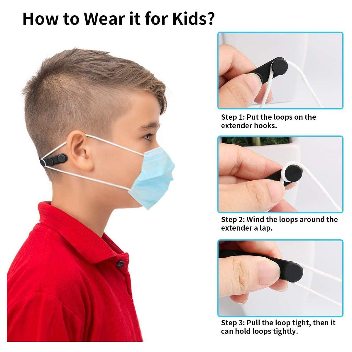 Silicone Mask Strap Extender with Buttons, 10pcs Adjustable Anti-Slip Mask Extender, Relieve Ear Pain, Anti-Tightening Soft Ear Saver Protector, Elastic Ear Strap Hook Holder for Kids & Adults - Black