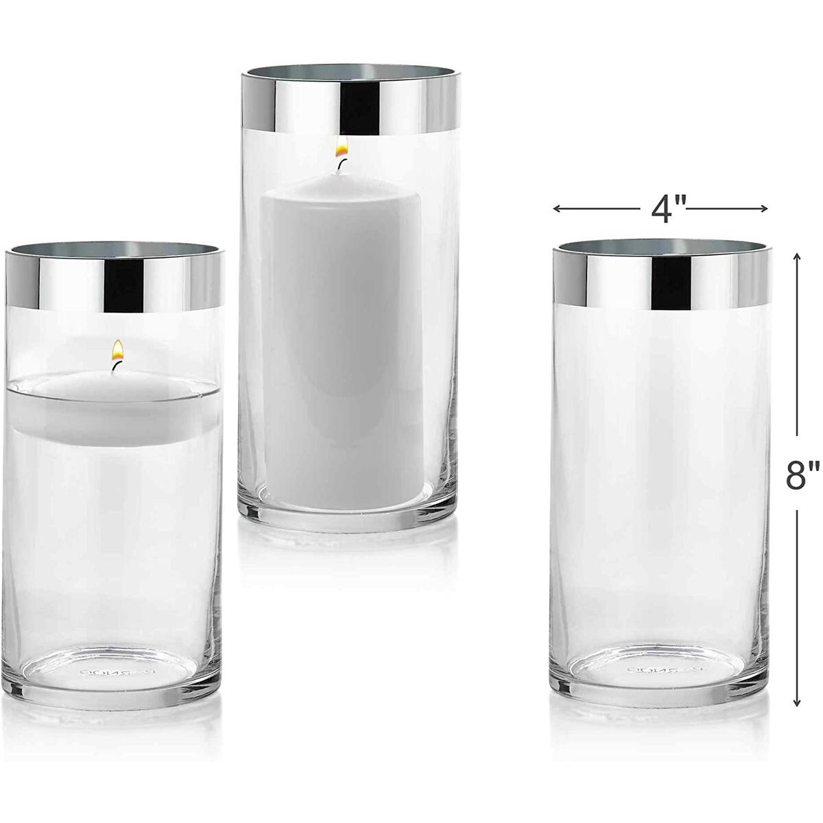 Set of 3 Glass Cylinder Vases 8 Inch Tall with 1 Inch Silver Rim - Multi-use: Pillar Candle, Floating Candles Holders or Flower Vase – Perfect as a Wedding Centerpieces