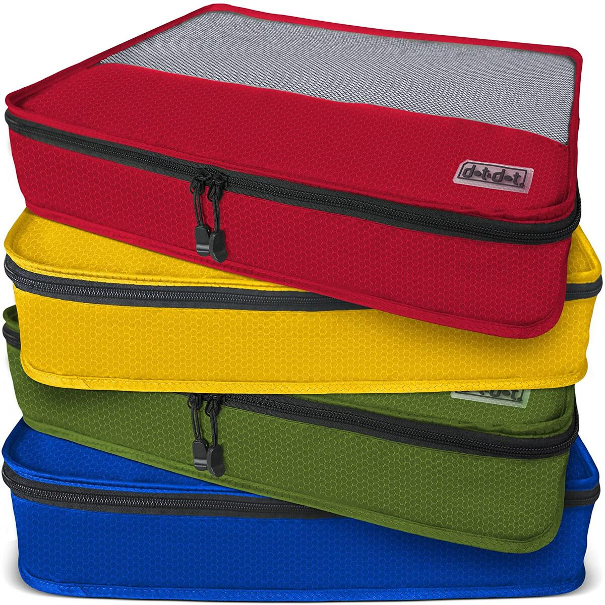 Dot&Dot Large Packing Cubes for Travel - Luggage Accessories Organizers Set (Red/Yellow/Green/Dark Blue)
