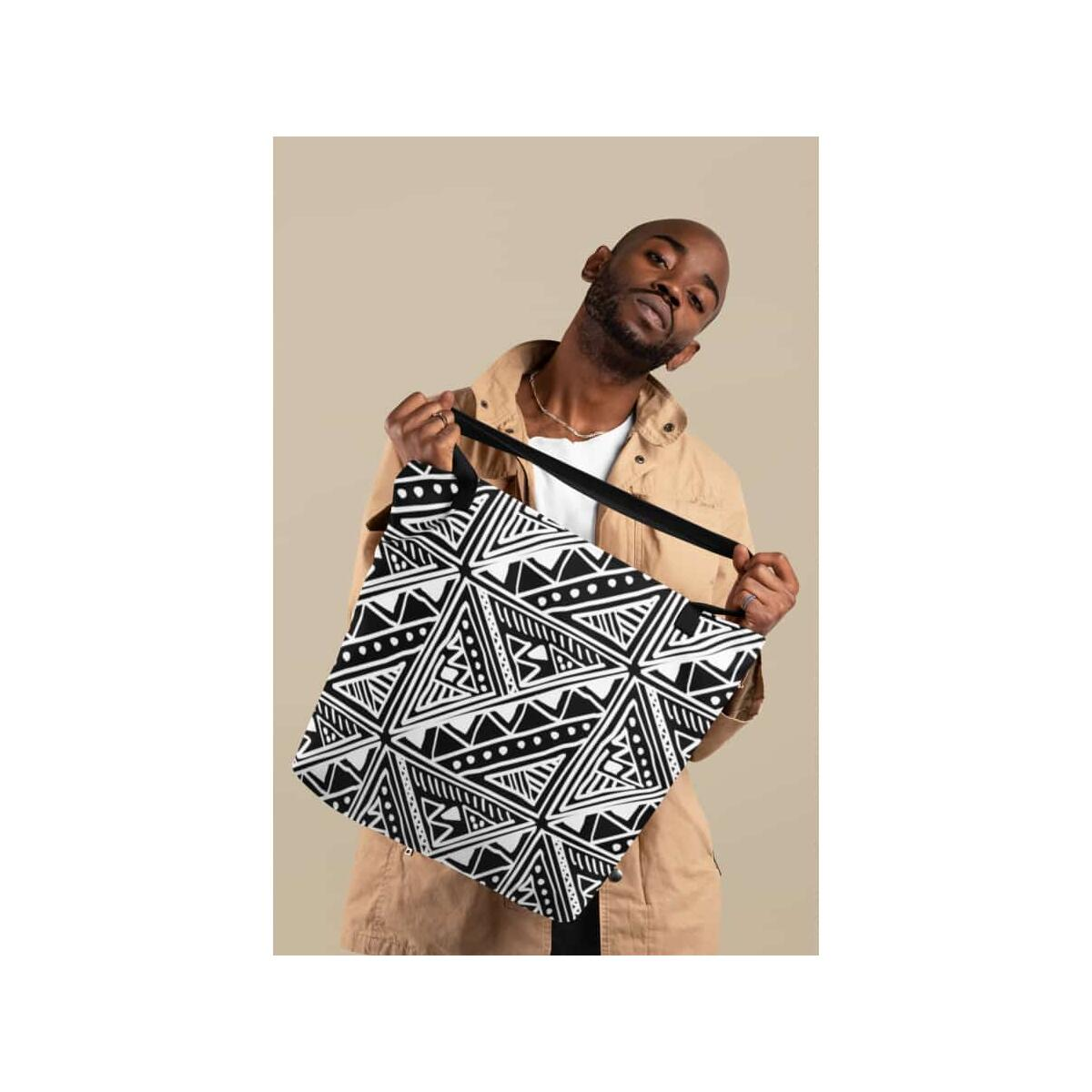 White Mudcloth African Tote Bag