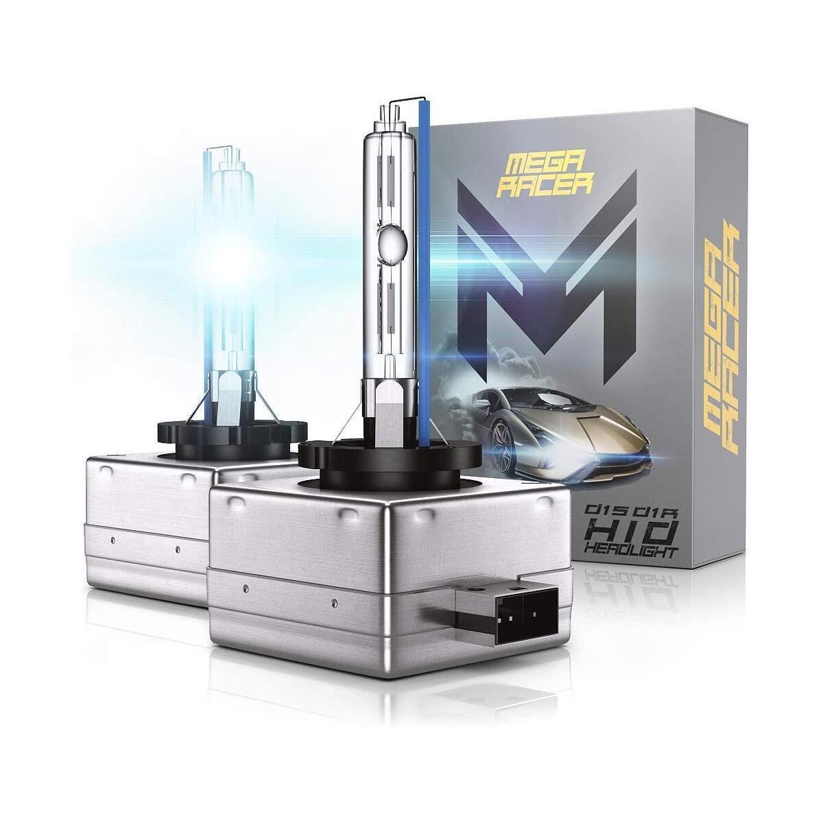 Mega Racer D1C/D1R/D1S HID Headlight Bulb for High Beam Low Beam 35W 10000K Dark Blue 8000 Lumens Xenon Headlights IP68 Waterproof, Pack of 2
