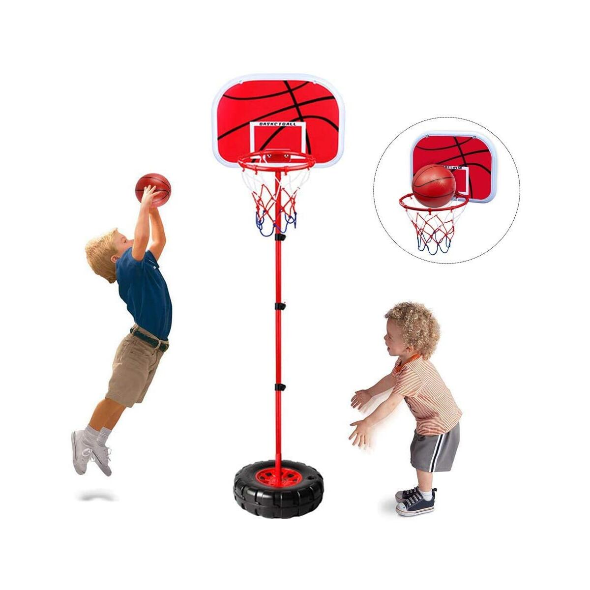 Toddler Basketball Hoop Stand Wall 2-in-1 Basketball Set Kids Portable Height-adjustable Basketball Goal Toy with Ball Pump Indooll Sets Toy with Ball Pump Indoor and Outdoor Fun Toys for 2+ Years Old