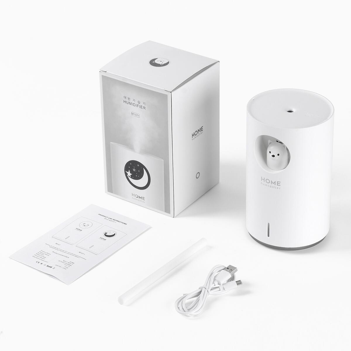 700mL Humidifiers for Bedroom Home Office, Cute Bear Cool Mist Humidifier USB Ultrasonic(95365)