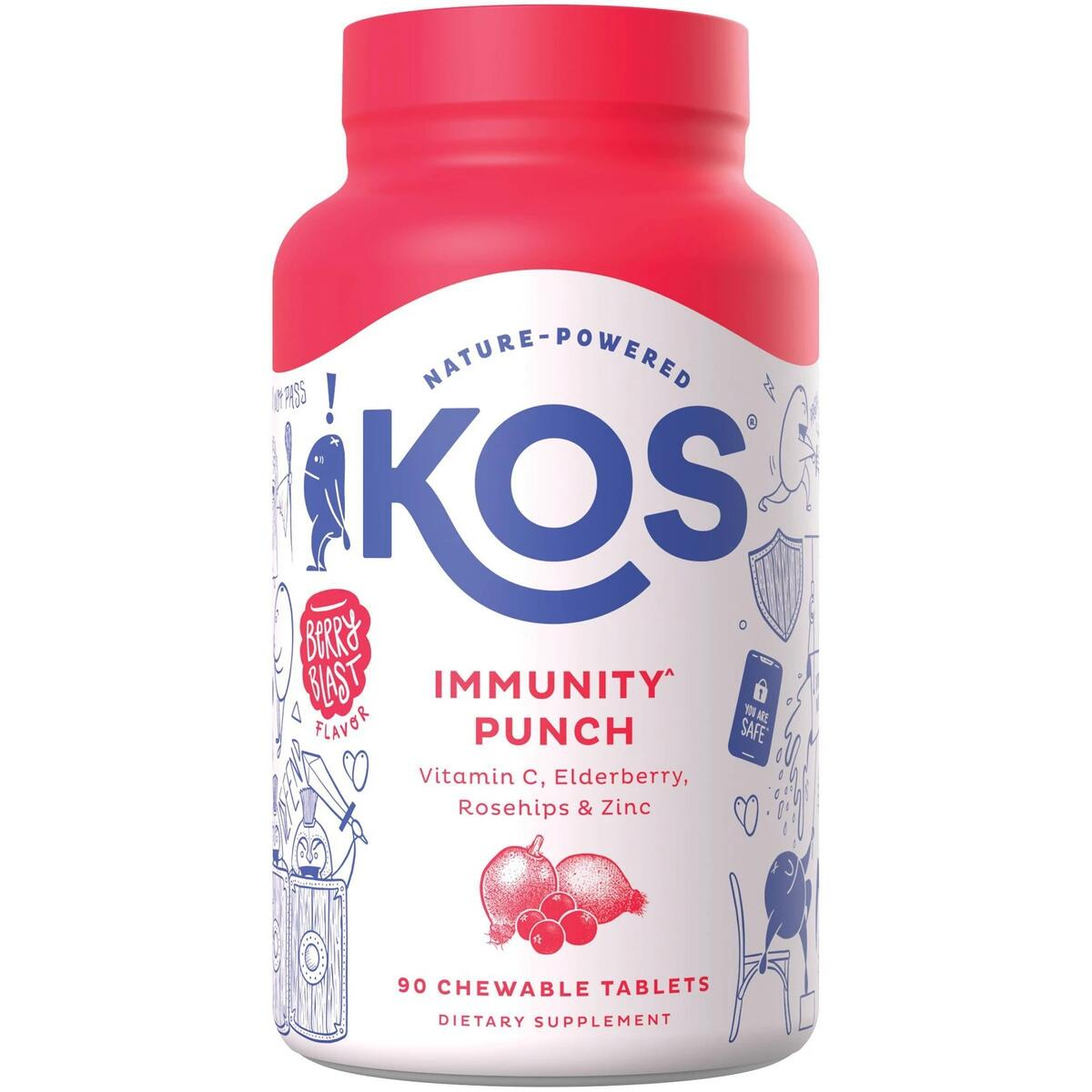 KOS Immunity Punch Chewable Tablets - Berry Blast - 90ct