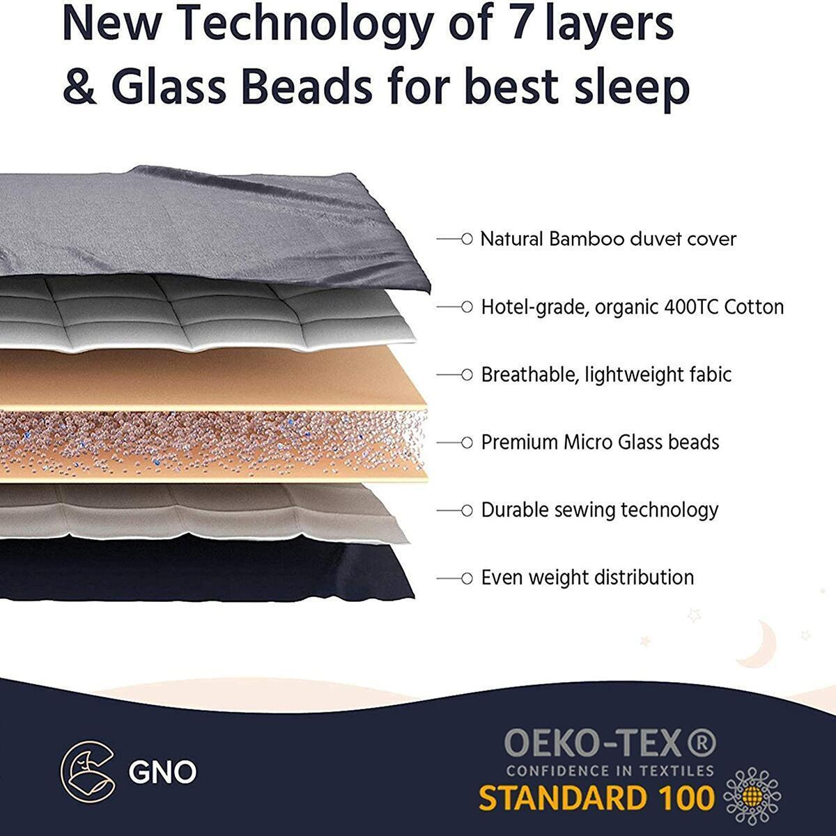 GnO Premium Adult Weighted Blanket & Removable Bamboo Cover - (12 Lbs - 48''x72'' Full Size) - 100% Oeko Tex Certified Cooling Cotton & Glass Beads- Organic Heavy Blanket- Designed in USA - Dark Grey