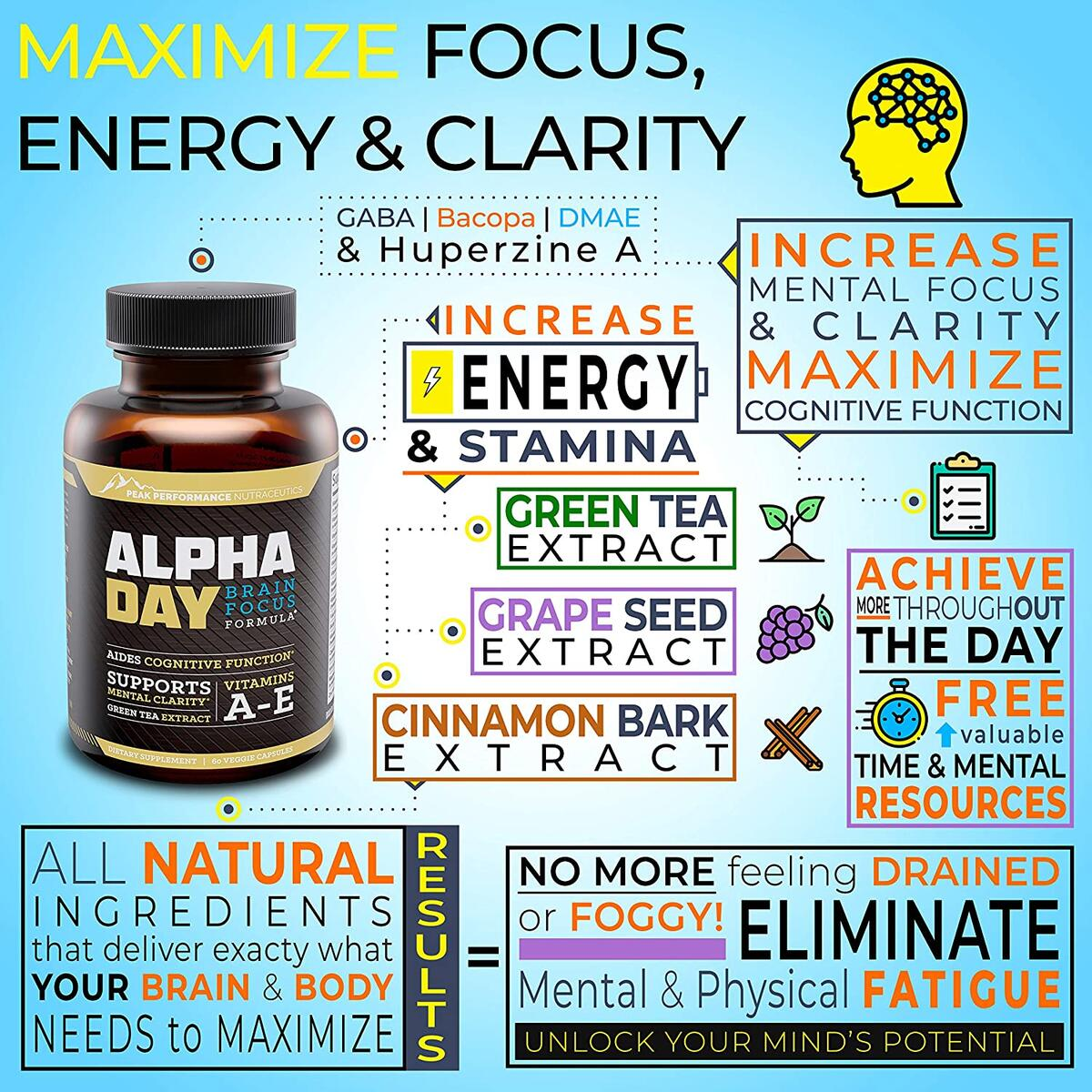 Alpha Day Nootropic Brain Supplement Vitamins. Focus and Energy Pills, Memory Booster, Mental Clarity, Concentration Support and Cognitive Enhancement. Bacopa Monnieri, Huperzine A and DMAE. 60 Pills
