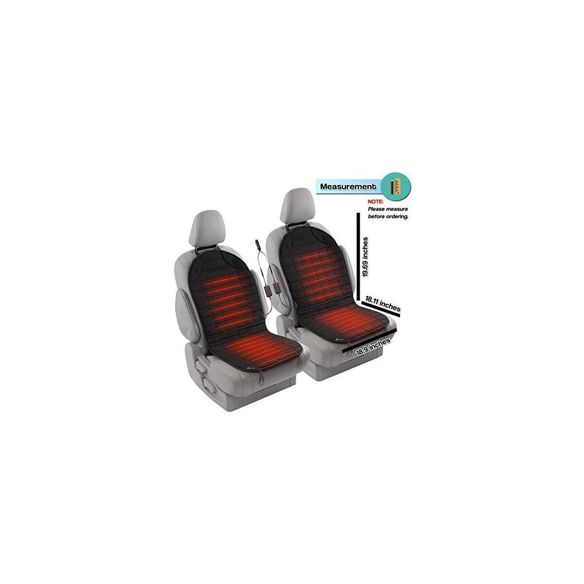 Zento Deals 2pc. Black Car Seat Cushion with 1 Integrated Plug Adjustable Temperature Pain Reliever 12V