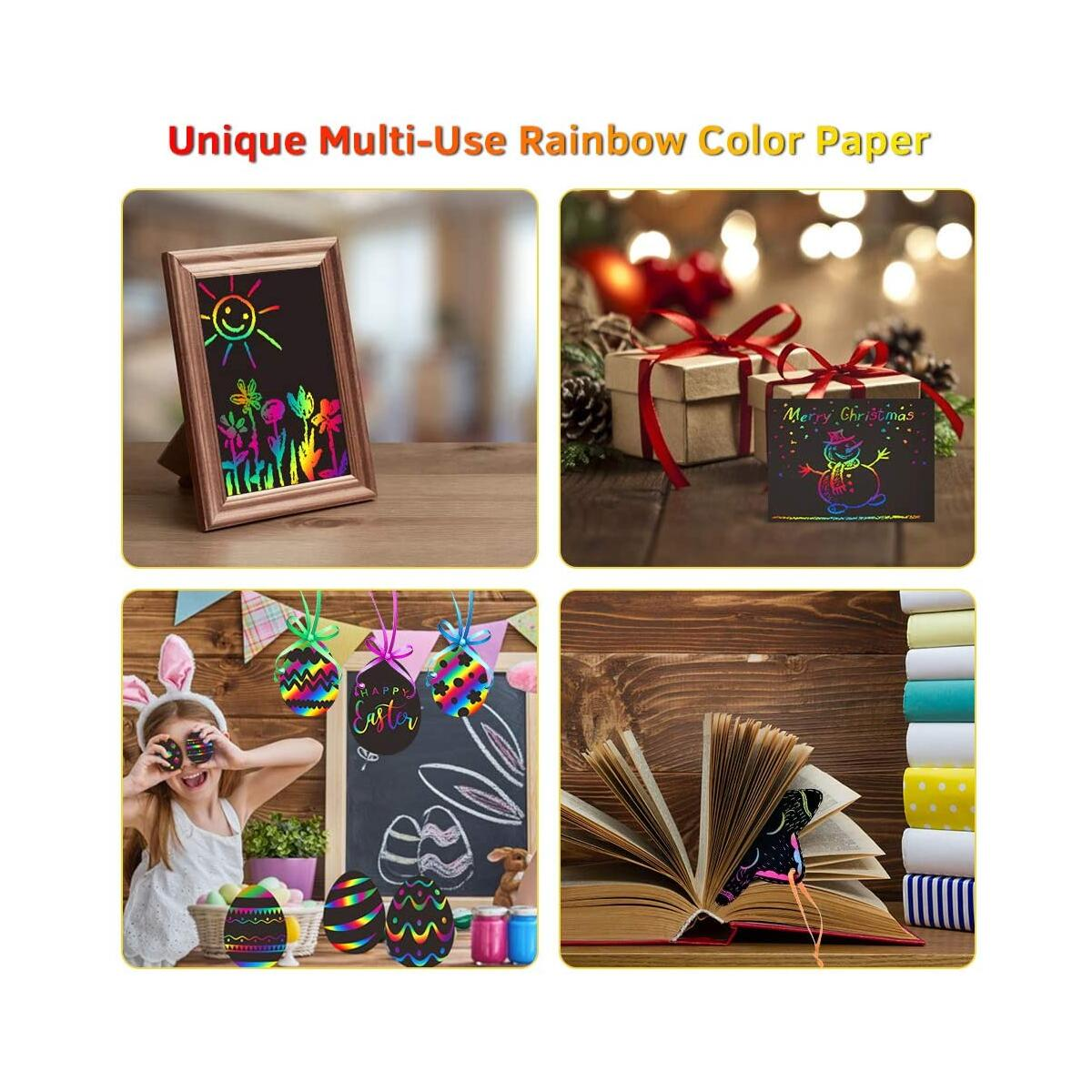 MayMoi Scratch Paper Art Set - 60 Pcs Rainbow Magic Scratch Paper Crafts Arts Supplies Kits for Party Christmas Birthday Gift (Includes 4 Stencils, 1 Brush & 5 Wooden Styluses)