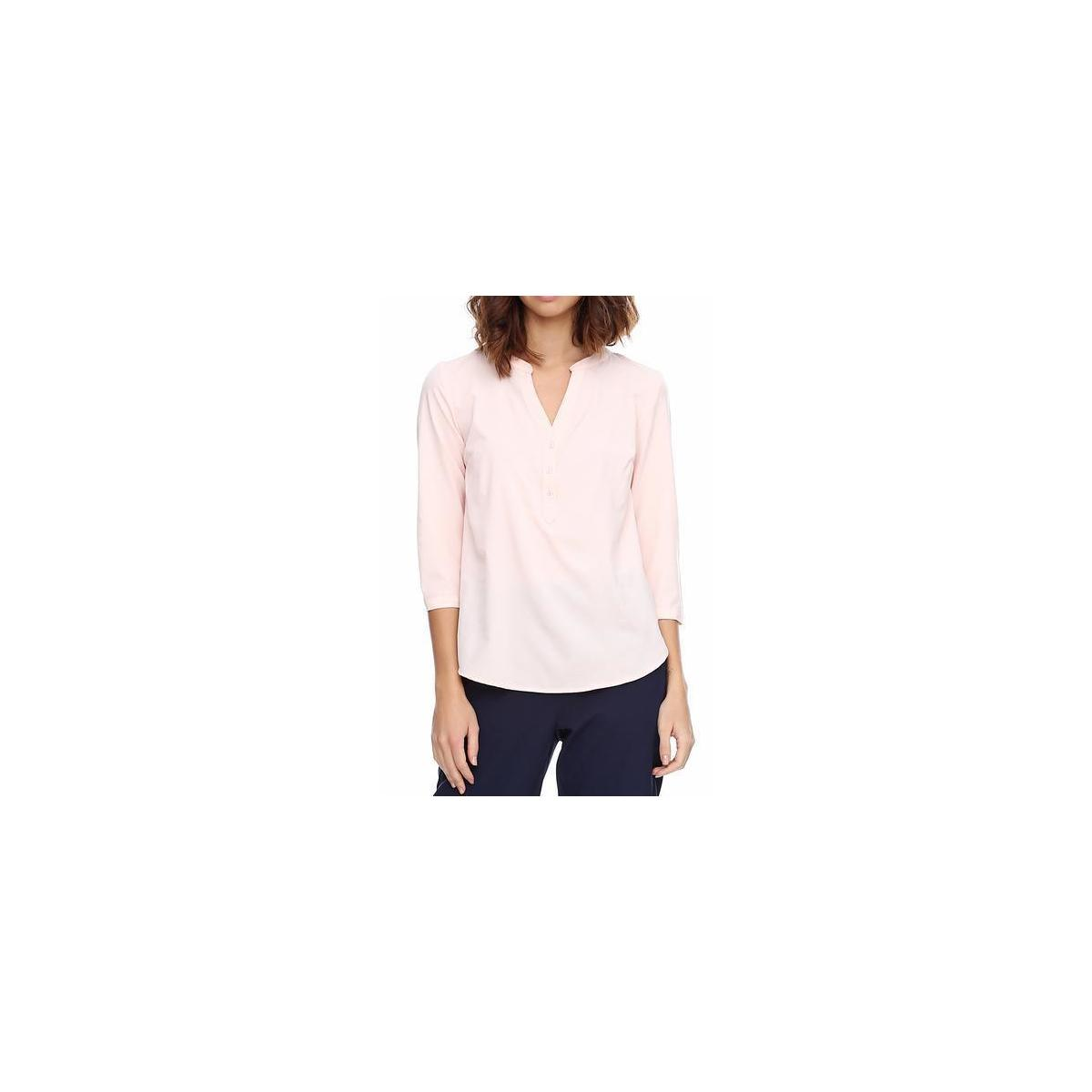 Womens 3/4 Sleeve V Neck Casual Blouse Relaxed-Fit Shirt Tops for Work Office