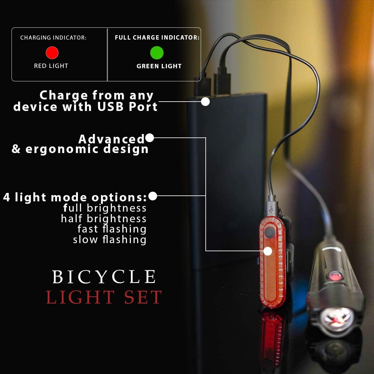 Apremont Ultra Bright USB Rechargeable Bike Light Set - Powerful Bicycle Front Headlight and Back Taillight - 4 Light Modes - Easy to Install for Men Women Kids Road Mountain Cycling