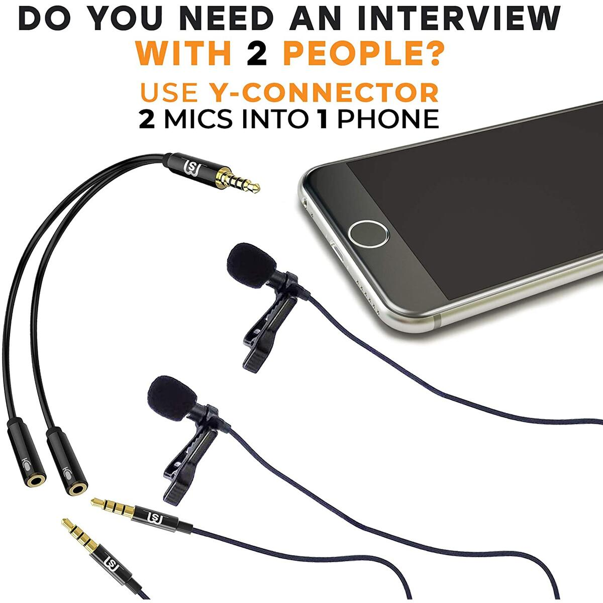 2-Pack Lavalier Microphone for Bloggers - Vloggers - Interview