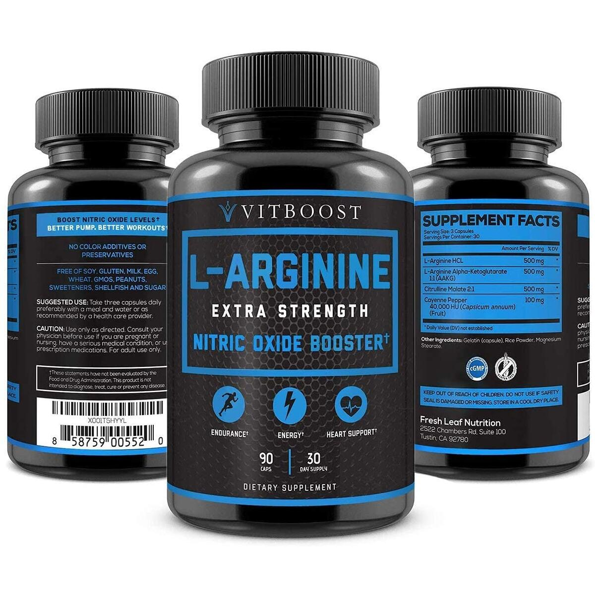 Extra Strength L Arginine 1500mg - Nitric Oxide Supplements for Stamina, Muscle, Vascularity & Energy - Powerful NO Booster with L-Arginine, L-Citrulline & Essential Amino Acids