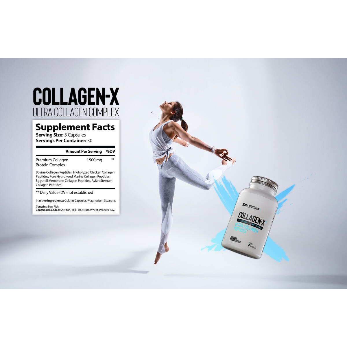 Collagen-X™ Multi Collagen Peptides Pills by Raw Fathers | 90 Capsule Collagen Complex I, II, III, V, X | Hydrolyzed Marine Collagen & Bone Broth Capsules | Anti Aging Hair Nails and Skin Vitamins