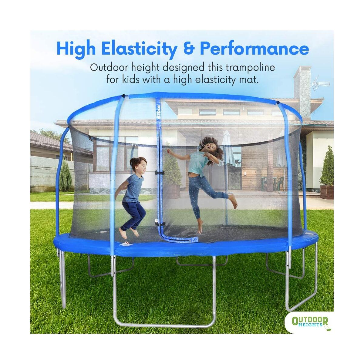 REFURBISHED- 14 FOOT - Outdoor Heights Trampoline with Safety Enclosure - Trampoline with Net, Easy Assembly, Spring Cover, Trampoline for Kids