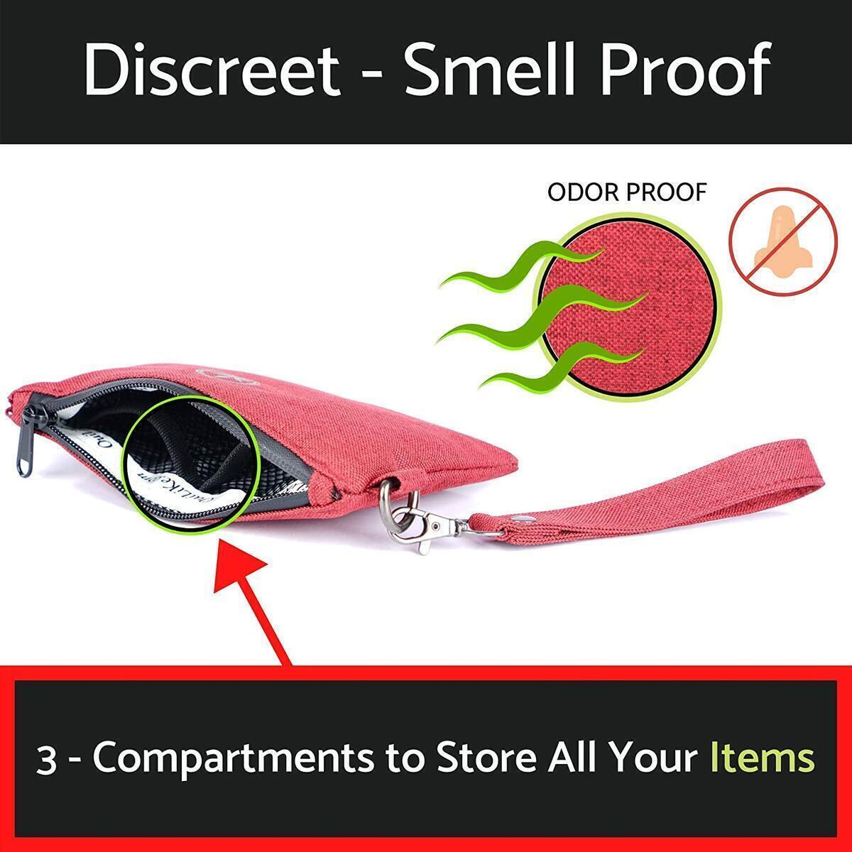 CHRISTMAS SALE! OuiLike Smell Proof Bag - Scent Proof Bag Odor Proof Bag Carbon Lined Stash Odor Storage Pouch Case (Red, 7x5 Inch)