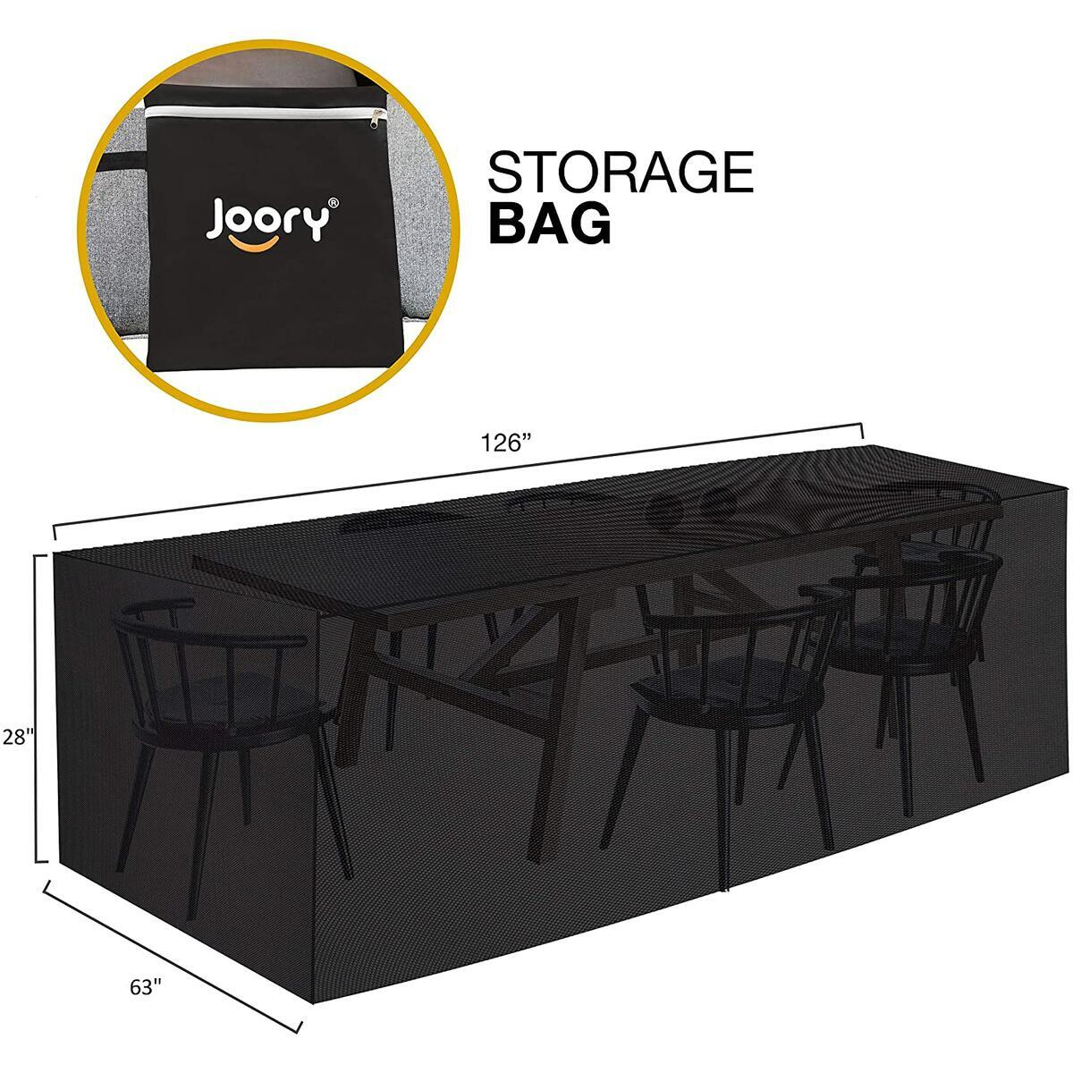 """JOORY Patio Furniture Cover Outdoor sectional Furniture Covers Waterproof Dust Proof Furniture Lounge Porch Sofa Protectors D126""""x W63""""x H28"""""""