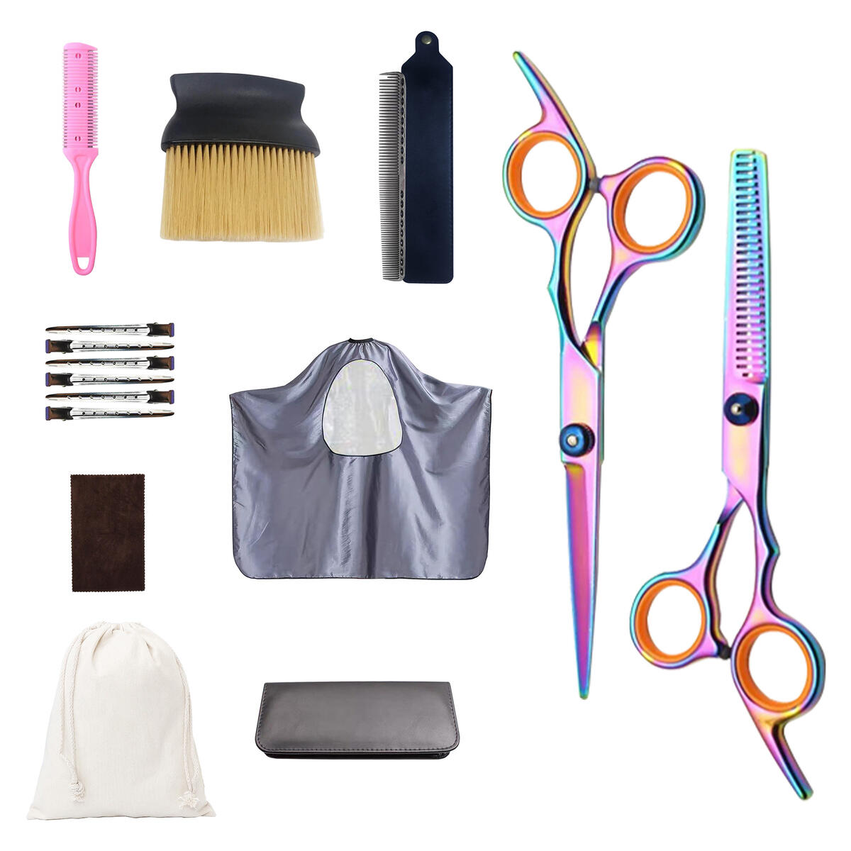 Professional Family Hair Cutting/Barber Scissors Shears 16pcs Set/Kit-Cutting Scissors,Thinning Scissors,Haircut Comb,Salon Cape,Haircut Cleaning Brush,Aluminum Grooming Comb,Hair Clips,Storage Bag