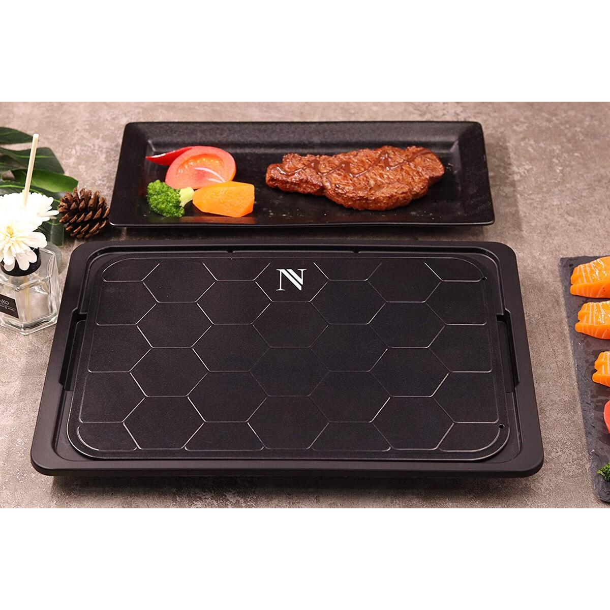NANOBE Defrosting Tray Set - Fast Defroster Plate for Frozen Foods with Drip Tray - Quick Thaw of Meat, Fish, Vegetables - Includes Silicone Sponge, Basting Brush, Tenderizer, Tongs - Non-Electric
