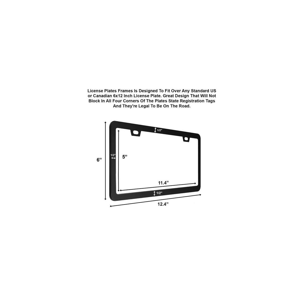 Car License Plate Frames, 2 Pack Matte Aluminum Slim Design Plate Frames