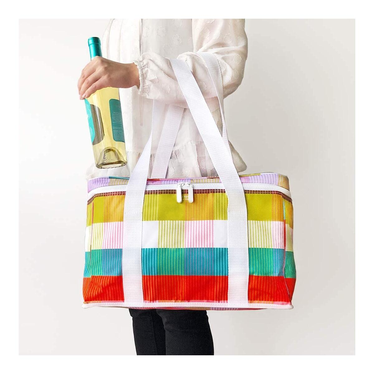 Kate Spade New York Large Capacity Insulated Cooler Bag, Soft Sided Portable Beach Cooler Tote for Women, Rainbow Plaid