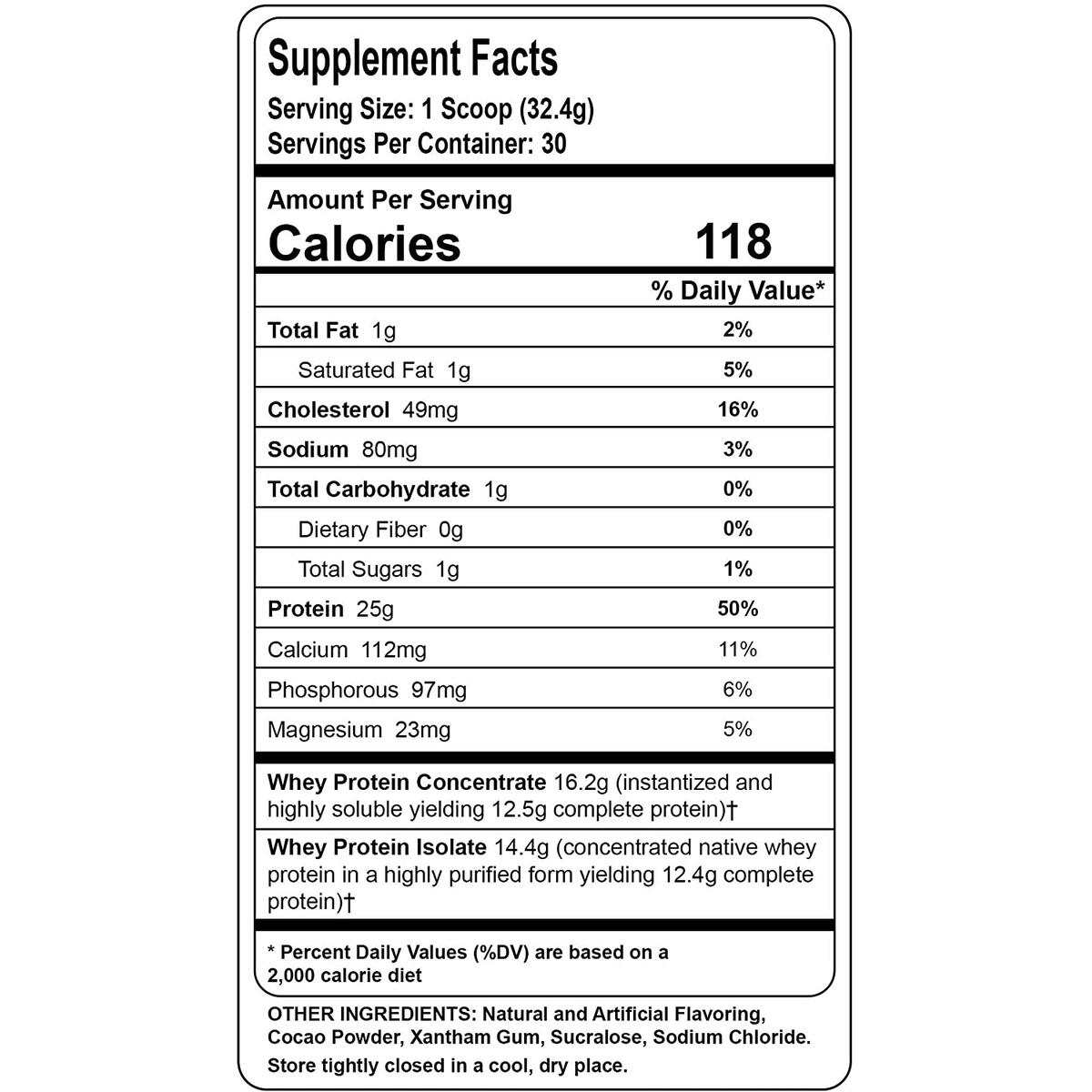 Whey Protein Powder - Chocolate Fudge Brownie Flavor - 2.1 lb Tub - 30 Servings